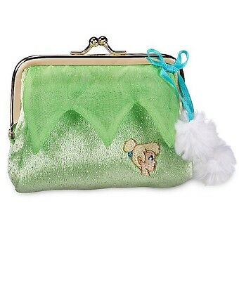 NWT Disney Store Tinker Bell Coin Purse~Fuzzy Exterior with Blue satin bow & pom