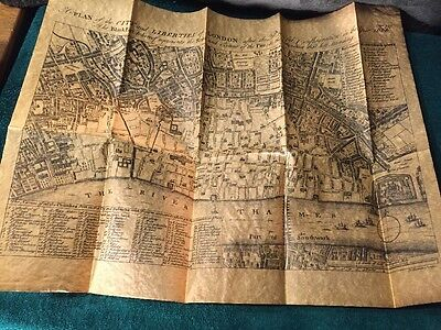 London after the Great Fire 1666 REPLICA MAP PRINT on parchment Porter