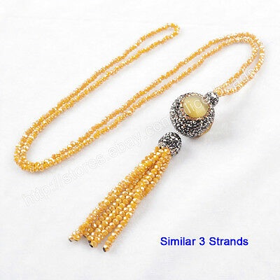 "3Pcs 28"" Cat's Eye Ball With CZ Pave Yellow Quartz Tassels Chain Necklace TJA399"