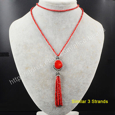 """3Pcs 27"""" Red Coral With CZ Paved Red Quartz Beads Tassels Chain Necklace TJA404"""