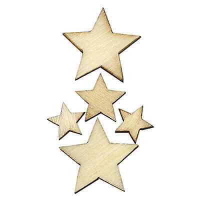100pcs Wooden Star Shape Little Wood Piece Wedding Party Table Scatter Decor CA