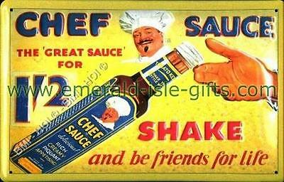 """Chef Sauce - Vintage Irish Advert on Metal Sign LARGE 12"""" x 8"""" inches"""