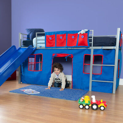 NEW Kids Twin Junior Loft Bed Curtain Solid Blue Red Tent Fort Play Area Boys