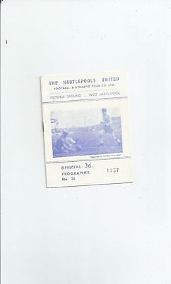 Hartlepool United v Mansfield Town Football Programme 1961/62 Autographed