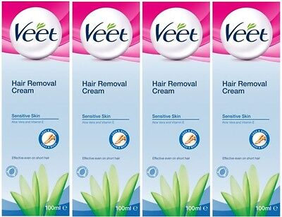 4 x 100ml Veet Hair Removal Cream For Legs & Body (Sensitive Skin)
