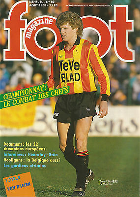 Foot magazine n°82 Aout 1988 avec poster