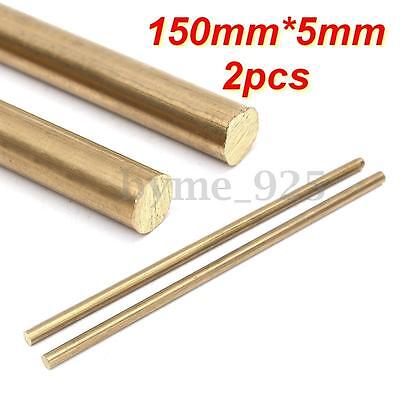 2pcs 150 x 5mm Unpolished Brass Solid Round Rod/Pin Blank Scales Blade Handle