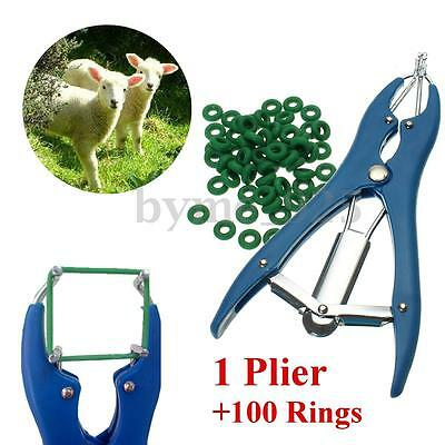 Cattle Sheep Castration Tail Docking Applicator Plier + 100 Rings Farm Marking