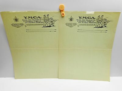 Vintage - Two  Y.M.C.A. Letterheads - WITH HIS MAJESTY'S CANADIAN FORCES.....