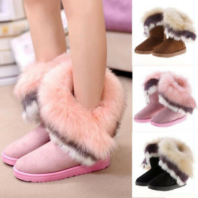 New Women's Winter Warm High Ankle Snow Boots Rabbit Fur Suede Tassel Shoes