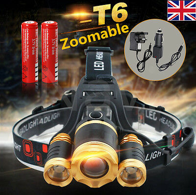 12000Lm 3 Cree XM-L T6 LED Zoomable Headlamp Torch Rechargeable Head Light Lamp
