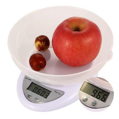 Compact Digital Kitchen Scale Diet 5KG 11LBS x 1g w/ Bowl Electronic Weight FP