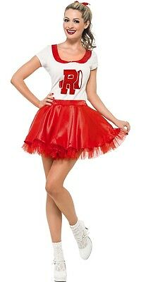 Ladies Sexy Sandy 1950s 50s Cheerleader Grease Film Fancy Dress Costume Outfit