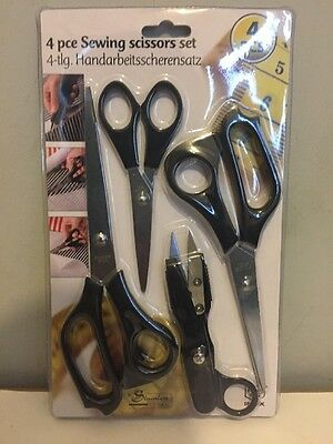 Pack Of 4 Stainless Steel Dressmaking Scissors Material Upholstery Shears Crafts