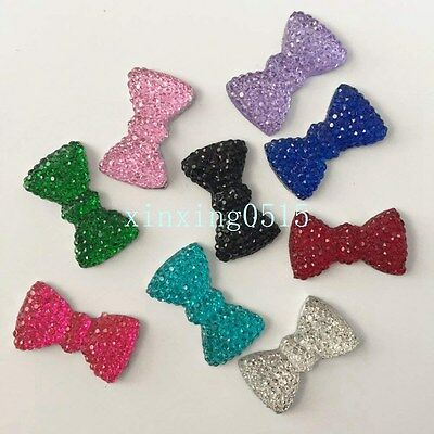 Hot 20PCS 12mm*20mm Resin BOW Rhinestone FlatBack Appliques/Wedding craft DIY
