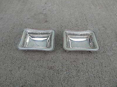 Decorative pair of Ellis Barker England silver plated footed dishes Menorah mark
