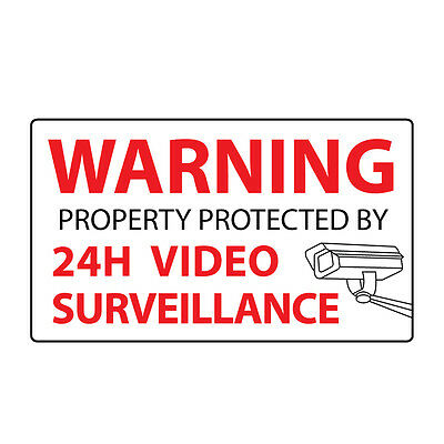 6x Security Stickers - VIDEO SURVEILLANCE  - Home & Business Window Label Decals