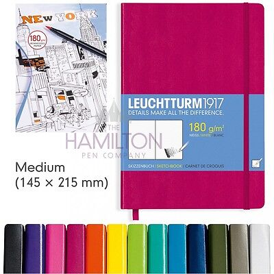 LEUCHTTURM 1917 MEDIUM SKETCHBOOK - A5 Size, 180gsm white paper, 12 colours!