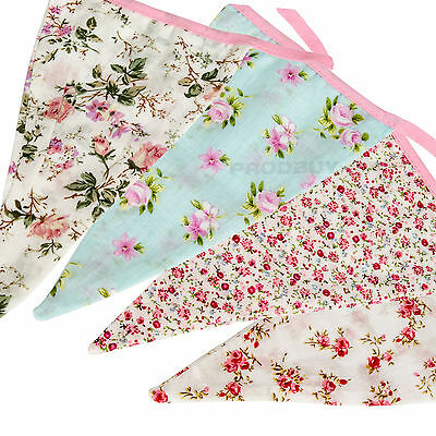 Floral Fabric Bunting 315cm Shabby Chic Vintage Girls Romance Pink Wedding Home