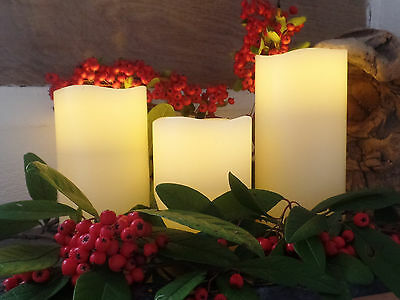Page One Design Rechargeable Set of 3 LED Real Wax Flickering Candles