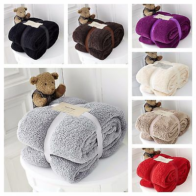 Luxury Thick Warm Large Soft Teddy Bear Sherpa Fleece Blanket Sofa Bed Throw