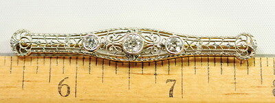 Vintage Antique 14k Yellow & White Gold 5/8 Ct European Cut Diamond Pin Brooch