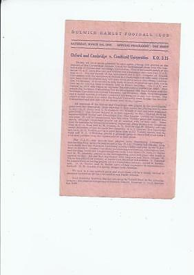Oxford & Cambridge v Combined Universities Football Programme 1945/46 @ Dulwich