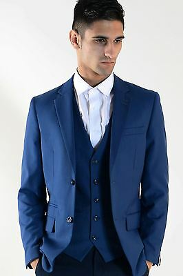 Mens Marc Darcy Designer Colbalt Blue Suit Work Blazer Tailored Jacket
