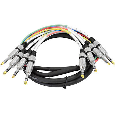 """Seismic Audio NEW 4 CHANNEL 1/4"""" TRS SNAKE CABLE-10' -Recording Patch"""