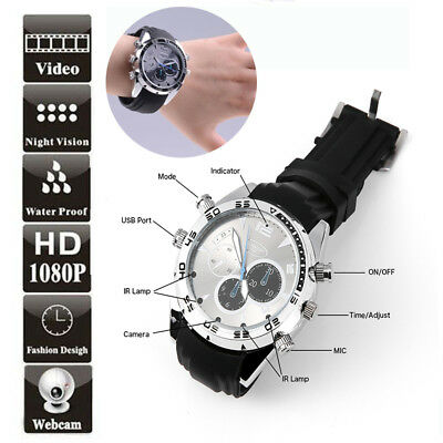 16G Spy Camera  Dvr In Wrist Watch High Definition 12Mp Hd1080P Ir Night Vision