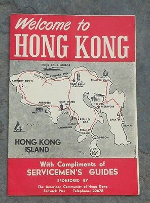 Vintage Servicemen's Guide to Hong Kong - Map and Travel Brochure, April, 1954