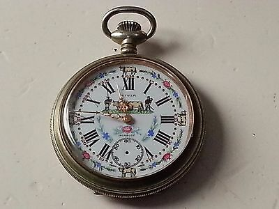 Vintage heavy pocket watch with great Dial + ornate case-and gold hands unsigned