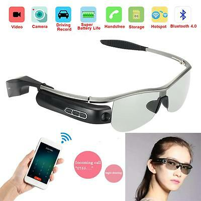 Smart Bluetooth Video Glasses 8.0MP Camera Headset Handfree DVR For Android IOS