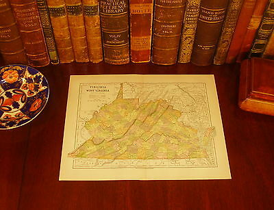Original 1882 Antique Map VIRGINIA WEST VIRGINIA Lynchburg Norfolk VA Weirton WV