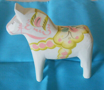 "Swedish Dala Horse White 5"" Perfect Size New Hand Carved/Painted w/Free Bookmark"