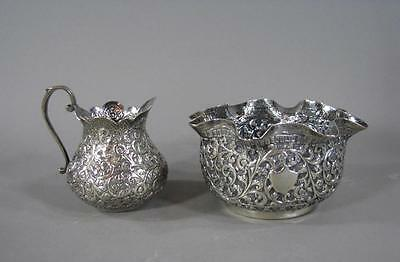 Nice Antique Indian Export Silver Repousse Bowl & Creamer 2pc Ruffled Rim