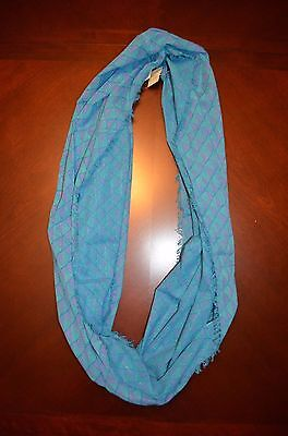 New American Eagle Lightweight Infinity Scarf - Purple,blue,silver Thread,fringe
