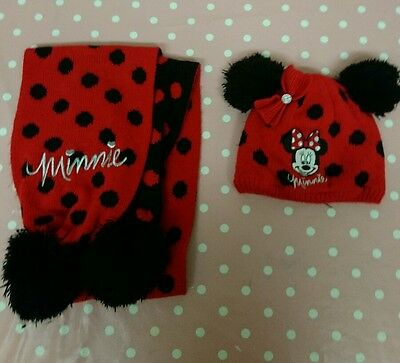 Girls Toddlers 2-4 Years Disney Minnie Mouse Hat and Scarf Winter Set