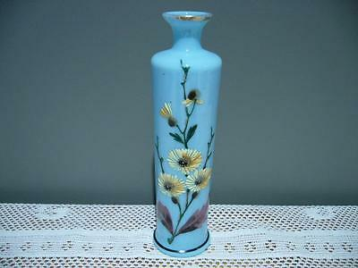 Lovely Vintage Blue Milk Glass Bud Vase With Hand Painted Floral Decoration - Gc