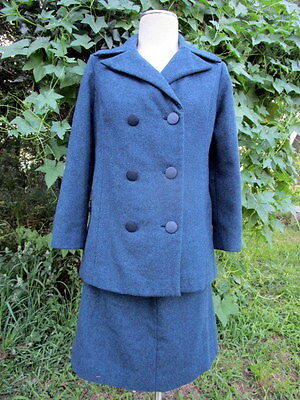 Vintage 1960s Women's Suit Jacket & Skirt  Blue Wool Pencil Tailor made M/L