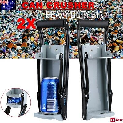 2 CAN CRUSHER Beer Soda Smasher 16oz Aluminium Recycling Bottle Opener Mount