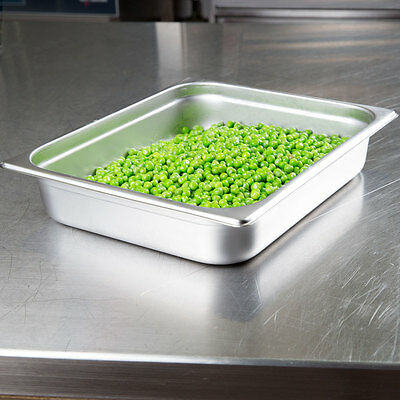 """4-Pack  --  Half Size 2 1/2"""" Deep Stainless Steel Hotel Steam Table Food Pans"""