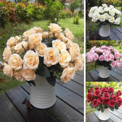 Artificial Rose Silk Flowers 12 Head Leaf Rose Wedding Party Garden Decor New