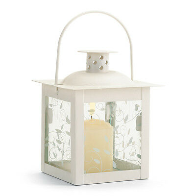 Collectible Small White Candle Lantern Vine Metal Design home accent WOW