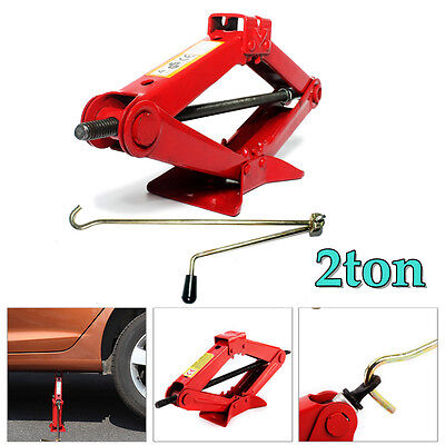 2 Ton Red Scissor Jack Lift Up Car Emergency High Quality Speed Handle AU Stock