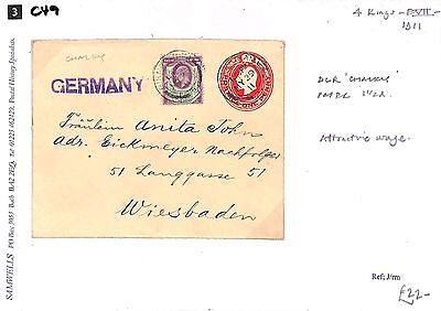 C49 1911 4 Kings, DLR 'Chalky' Paper 11/2d - Attractive Usage Germany Wiesbaden