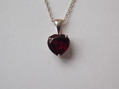925 Sterling Silver Garnet Heart Pendant and Sterling Silver Chain