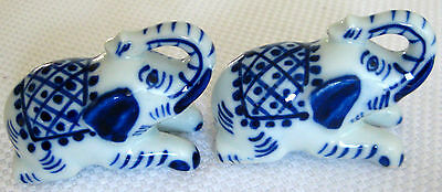 Ever So Cute Collectable Retro Vintage Blue & White Elephant Figural Ornaments