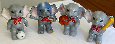 Four Small Collectable Vintage Retro Ceramic Elephant Figural Ornament