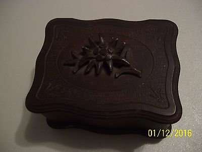 Unique Vintage Wooden Flower Carved Musical Trinket / Treasure / Jewelry Box  Fs
